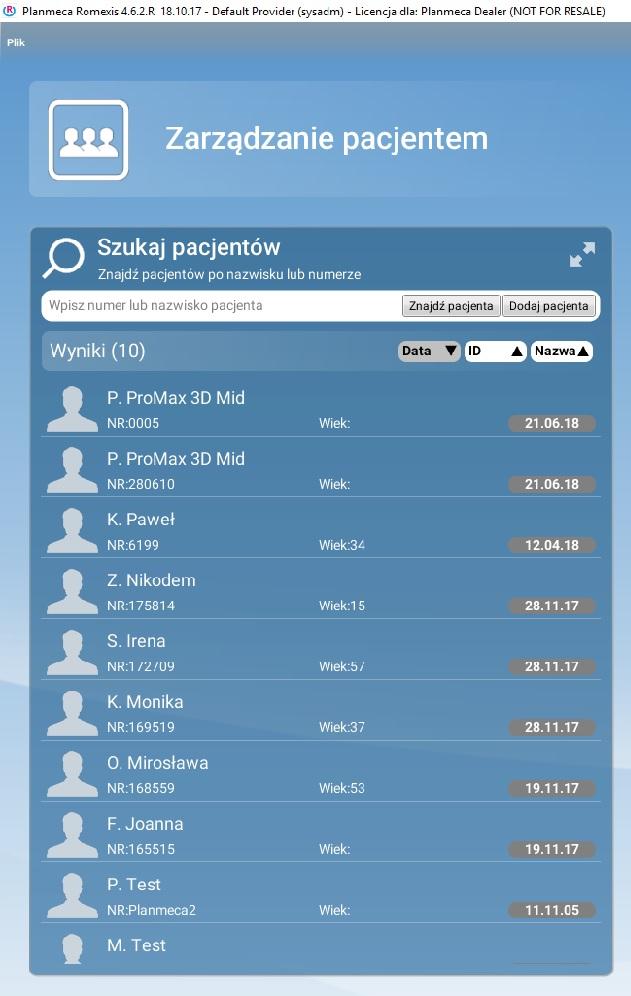Lista pacjentów w Romexis: całe imię i inicjał nazwiska