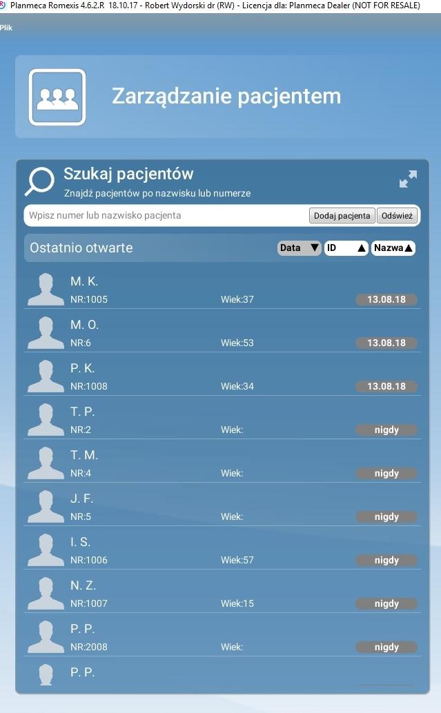 Lista pacjentów w Romexis: tylko inicjały